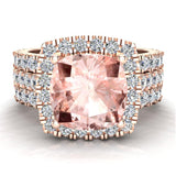 Wedding Ring Set for Women Cushion cut Morganite Halo Diamond Ring 18K Gold 3.85 carat (G,VS) - Rose Gold