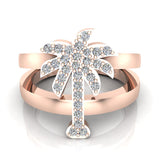 Trendsetter Fashion Palm Tree Diamond Ring 0.31 ctw 18K Gold (G,SI) - Rose Gold