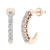 14K Gold Diamond Huggie Earrings For Women (G, SI) - Rose Gold