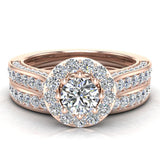 Halo with Accent Diamonds Wedding Ring Set 14K Gold(G,SI) - Rose Gold