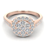 Dainty Flower Cluster Diamond Halo Engagement Ring 0.78 ctw 14K Gold (G,I1) - Rose Gold