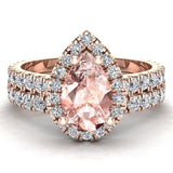 Pear Cut Pink Morganite Halo Wedding Ring Set 18K Gold (G,VS) - Rose Gold