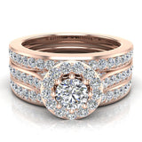 Exquisite 8 prong setting Round Cut Halo Wedding Ring Set w/ Enhancer Bands 14K Gold (G,SI) - Rose Gold