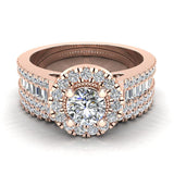 Round Cut Wedding Ring Set for Women 14K Gold Halo Bridal Rings Set Wide Shank 1.42 Ctw (I, I1) - Rose Gold