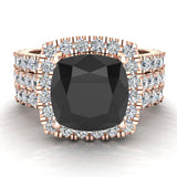 Black Diamond Cushion Cut Halo Diamond wedding rings for women 14K Gold 3.85 ctw (I,I1) - Rose Gold