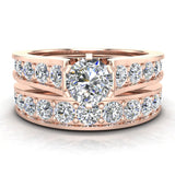 Riviera 14K Wedding Rings for Women Bridal Set Round Cut 1.80 carat 14K Gold (I, I1) - Rose Gold