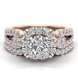 Wedding Ring Set for Women Accented Diamond Loop Shank 1.00 - 1.05 ctw Carat 14K Gold (I,I1) - Rose Gold