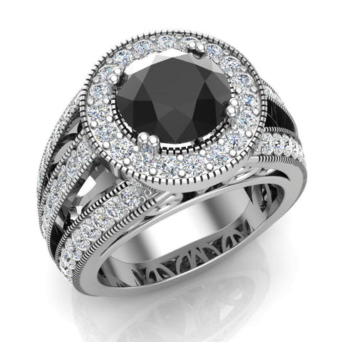 Large Black diamond engagement ring 14K Gold 8.00 mm 3.50 carat tw (I,I1) - White Gold
