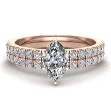 Petite Wedding Rings for women Marquise Cut Bridal set 18K Gold 0.90 carat (G, VS) - Rose Gold