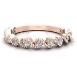Ocean Waves Ripple Stacking Milgrain Diamond Wedding or Anniversary Band 0.33 ctw 18K Gold (G,SI) - Rose Gold