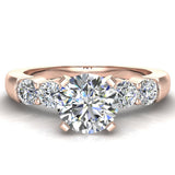 Five Stone Engagement Solitaire Ring 14K Gold (G,SI) - Rose Gold