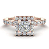 Petite Engagement Rings for Women Princess Cut Halo Diamond Ring 14K Gold 1.05 carat (F,VS) - Rose Gold