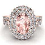 Engagement Ring for Women Oval Pink Morganite Double Halo Diamond Ring 14K Gold 2.65 carat (I,I1) - Rose Gold