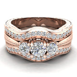 Past Present Future Diamond Wedding Ring Set 14K Gold (G,I1) - Rose Gold