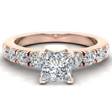 Engagement Rings for Women - Princess Cut Diamond 18K Gold  0.50 ct GIA Certificate - Rose Gold
