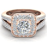 Round Cut Diamond Cushion Halo Split Shank Ring Set 14K Gold (G,VS2) - Rose Gold