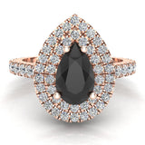 Pear Cut Black Diamond Double Halo Engagement Ring 18K Gold (G,VS) - Rose Gold
