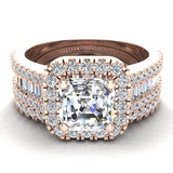 Stunning Princess Cushion Halo Diamond Wedding Ring Set 1.56 ctw 18K Gold (G,SI) - Rose Gold