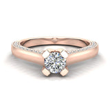 Petite Knife Edge Diamond Promise Ring 14K Gold 0.75 Ctw (I,I1) - Rose Gold