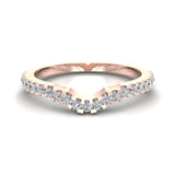 Diamond Wedding Band matching to Three stone Split Shank Wedding Ring 18K Gold 0.25 carat (G,VS) - Rose Gold