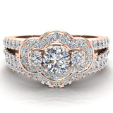 Three Stone Split Shank Wide look  Anniversary Engagement Ring Set Set 18K Gold (G,VS) - Rose Gold