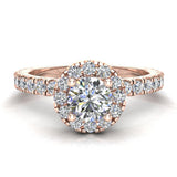 Petite Engagement rings for women Halo Round Brilliant Cut diamond ring 18K Gold 1.05 carat (G,SI) - Rose Gold