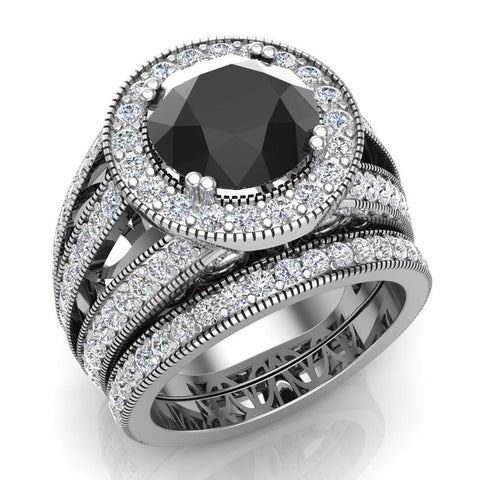 Wedding Ring set Black Diamond Bridal rings set 14K Gold 9.30 mm 4.96 carat tw (I,I1) - White Gold