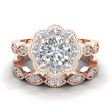 Classic Round Diamond Floral Halo Setting with Milgrain Marquee Shank Wedding Ring Set 1.42 ctw 14K Gold (G,I1) - Rose Gold
