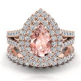 Pear Cut Pink Morganite Double Halo Wedding Ring Set 14K Gold (I,I1) - Rose Gold