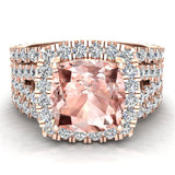 Cushion Cut Pink Morganite Halo Engagement Ring Set w/ enhancer bands 14K Gold (I,I1) - Rose Gold