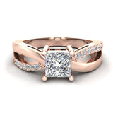 Infinity Shank Promise Diamond Ring 14K Gold 0.75 Ctw (G,I1) - Rose Gold