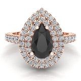 Pear Cut Black Diamond Double Halo Engagement Ring 14K Gold (I,I1) - Rose Gold
