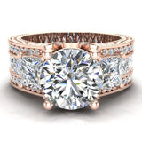 Moissanite Engagement Ring for Women 8.00 mm 5.35 carat Past Present Future Style 14K Gold (I,I1) - Rose Gold