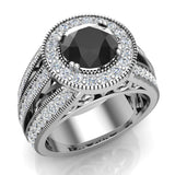 Large Black diamond engagement ring 14K Gold 7.30 mm 2.80 carat tw (G,SI) - White Gold