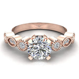 0.93 Carat Vintage Engagement Ring Settings 14K Gold (G,I1) - Rose Gold