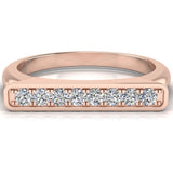 Stacking Band Bar Ring Diamond Wedding or Anniversary 0.14 ctw 14K Gold (G,SI) - Rose Gold