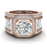 Large  Moissanite Engagement Ring 18K Gold Halo Rings for women 7.30 mm 6.35 carat (G,VS) - Rose Gold