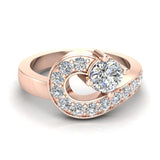 Promise Snake Love Knot Diamond Ring 14K Gold 1.00 ctw (G,SI) - Rose Gold
