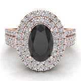 Black Diamond Engagement Rings for Women Oval Cut 18K Gold Diamond  Halo 2.65 carat (G,VS) - Rose Gold