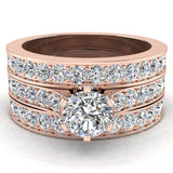 Wedding Rings for Women Bridal Set Diamond Rings w/Enhancer bands 14K Gold - Cathedral Style (G,I1) - Rose Gold