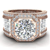 Large  Moissanite Engagement Ring 14K Gold Halo Rings for women 8.00 mm 6.85 carat (I,I1) - Rose Gold