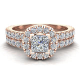 Petite Wedding rings for women Cushion Halo Princess Cut diamond bridal set 18K Gold 1.55 carat (G, VS) - Rose Gold