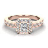 Princess Cut Diamond Ring Promise Style Petite Cushion Halo 14K Gold 0.39 ctw (I,I1) - Rose Gold