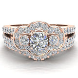 Three Stone Split Shank Wide look  Anniversary Engagement Ring Set Set 14K Gold (G,SI) - Rose Gold