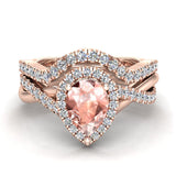 Pear cut Pink Morganite Criss Cross Diamond Halo Wedding Ring Set 14K Gold (I,I1) - Rose Gold