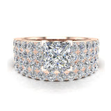 Two Row Princess Solitaire Diamond Engagement Ring Set 18K Gold (G,VS) - Rose Gold