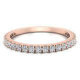 Exquisite Stacking French Pave Set Diamond Wedding Band 0.38 Ctw 14K Solid Gold (I,I1) - Rose Gold
