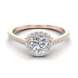0.90 ct tw Round Brilliant Diamond Dainty Halo Engagement Ring 14K Gold (G,VS) - Rose Gold