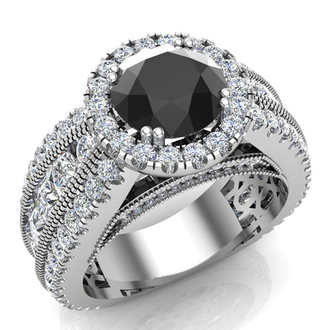 Black Diamond Fashion diamond rings for women Halo Style 14K Gold Channel Set 7.30 mm 4.84 carat tw (I,I1) - White Gold