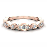 Stacking Circle & Marquee Designer Milgrain Diamond Wedding Band 0.28 Ctw 18K solid Gold (G,SI) - Rose Gold